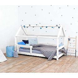 Bílá dětská postel s bočnicí ze smrkového dřeva Benlemi Tery, 90 x 180 cm
