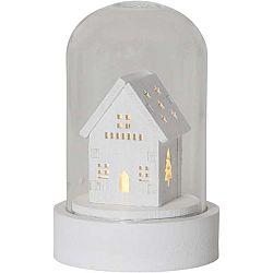 Bílá skleněná LED dekorace Best Season Kupol