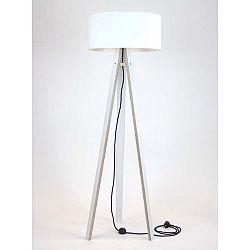 Bílá stojací lampa s bílým stínítkem a černým kabelem Ragaba Wanda