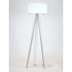 Bílá stojací lampa s bílým stínítkem a transparentním kabelem Ragaba Wanda