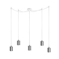 Bílé závěsné svítidlo s 5 kabely a objímkami ve stříbrné barvě Bulb Attack Cero