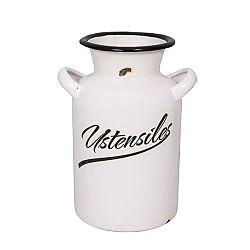 Bílý smaltovaný džbán na mléko Antic Line Classic, výška 20 cm
