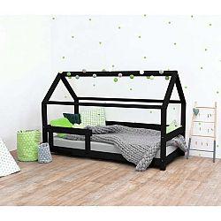 Černá dětská postel s bočnicí ze smrkového dřeva Benlemi Tery, 90 x 160 cm
