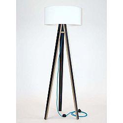 Černá stojací lampa s bílým stínítkem a tyrkysovým kabelem Ragaba Wanda