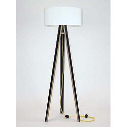 Černá stojací lampa s bílým stínítkem a žlutým kabelem Ragaba Wanda