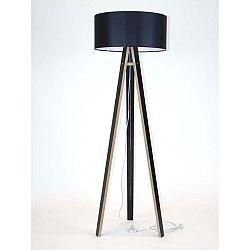 Černá stojací lampa s černým stínítkem a transparentním kabelem Ragaba Wanda