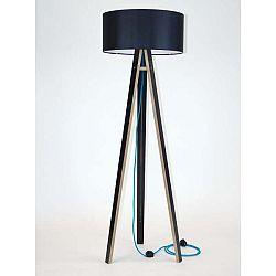 Černá stojací lampa s černým stínítkem a tyrkysovým kabelem Ragaba Wanda
