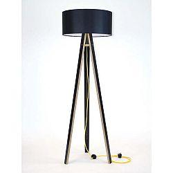 Černá stojací lampa s černým stínítkem a žlutým kabelem Ragaba Wanda