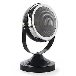 Černá stolní lampa s detaily ve stříbrné barvě Geese Mic