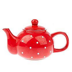 Červená keramická konvice Dakls Dots, 1 l