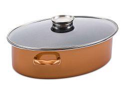CopperLux oválný pekáč se skleněnou poklicí 6l