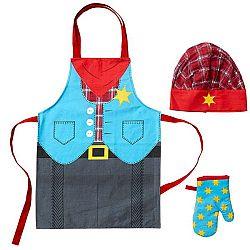 Dětská sada zástěry, čepice a kuchyňské rukavice Ladelle Cowboy
