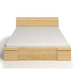 Dvoulůžková postel z borovicového dřeva se zásuvkou SKANDICA Sparta Maxi, 140x200cm