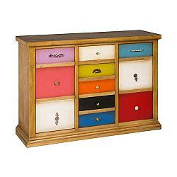 Hnědá komoda s barevnými zásuvkami Evergreen House Serial