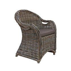 Křeslo z koboo ratanu s tmavě hnědým sedákem HSM collection Parma