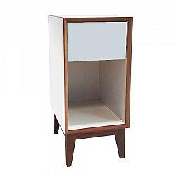 Malý noční stolek s bílým rámem a světle šedou zásuvkou Ragaba PIX