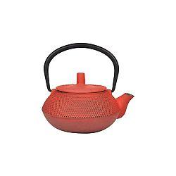 Oranžovo-červená konvička na čaj z litiny Tasev, 300 ml