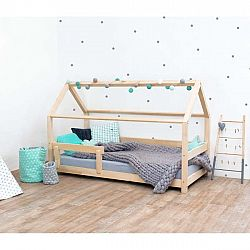 Přírodní dětská postel s bočnicí ze smrkového dřeva Benlemi Tery, 90 x 160 cm