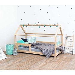 Přírodní dětská postel s bočnicí ze smrkového dřeva Benlemi Tery, 90 x 180 cm