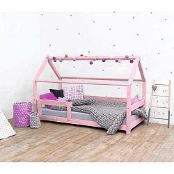 Růžová dětská postel s bočnicí ze smrkového dřeva Benlemi Tery, 90 x 200 cm
