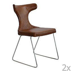 Sada 2 hnědých kožených židlí RGE Moon