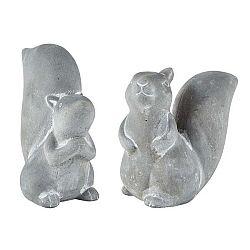 Sada 2 šedých dekorativních cementových sošek KJ Collection Squirrel