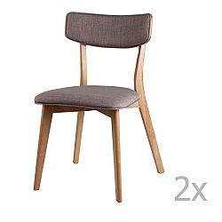 Sada 2 světle šedých jídelních židlí sømcasa Anais