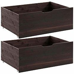 Sada 2 tmavě hnědých zásuvek pod postel z masivního borovicového dřeva Støraa Barney