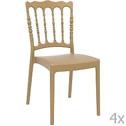 Sada 4 béžových zahradních židlí Resol Napoleon