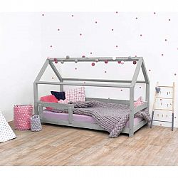 Šedá dětská postel s bočnicí ze smrkového dřeva Benlemi Tery, 70 x 160 cm