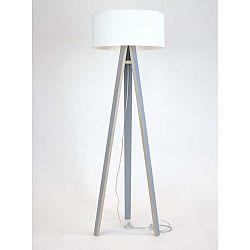 Šedá stojací lampa s bílým stínítkem a transparentním kabelem Ragaba Wanda