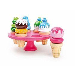 Set 6 dřevěných zmrzlin na hraní se stojanem Legler Waffle Ice Cream