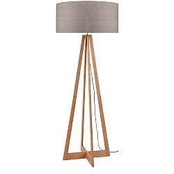 Stojací lampa s béžovým stínidlem a konstrukcí z bambusu Good&Mojo Everest