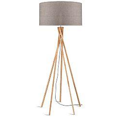 Stojací lampa s béžovým stínidlem a konstrukcí z bambusu Good&Mojo Kilimanjaro
