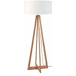 Stojací lampa s bílým stínidlem a konstrukcí z bambusu Good&Mojo Everest