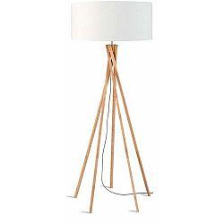 Stojací lampa s bílým stínidlem a konstrukcí z bambusu Good&Mojo Kilimanjaro