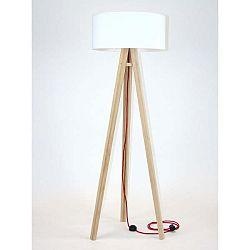 Stojací lampa s bílým stínítkem a červeným kabelem Ragaba Wanda