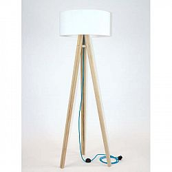 Stojací lampa s bílým stínítkem a tyrkysovým kabelem Ragaba Wanda