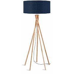 Stojací lampa s modrým stínidlem a konstrukcí z bambusu Good&Mojo Kilimanjaro