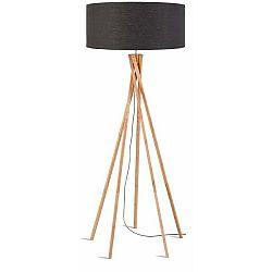 Stojací lampa s tmavě šedým stínidlem a konstrukcí z bambusu Good&Mojo Kilimanjaro