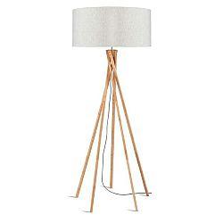 Stojací lampa se světle béžovým stínidlem a konstrukcí z bambusu Good&Mojo Kilimanjaro