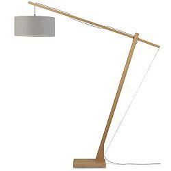 Stojací lampa se světle šedým stínidlem a konstrukcí z bambusu Good&Mojo Montblanc