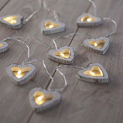 Svítící řetěz ve tvaru srdíček DecoKing Hearth,délka1,65m