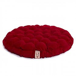 Tmavě červený sedací polštářek s masážními míčky Linda Vrňáková Bloom, Ø75cm