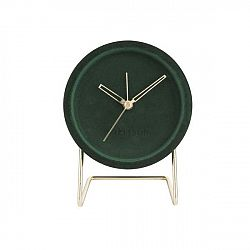 Tmavě zelené stolní hodiny se sametem Karlsson Lush