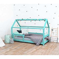Tyrkysová dětská postel s bočnicí ze smrkového dřeva Benlemi Tery, 90 x 160 cm