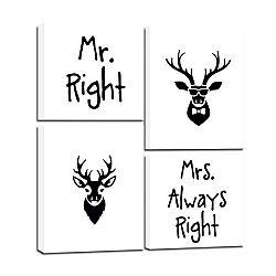 Vícedílný obraz Styler Scandi Mr & Mrs, 64 x 74 cm