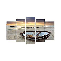Vícedílný obraz Sunset Over The Sea And Boat, 110x60 cm