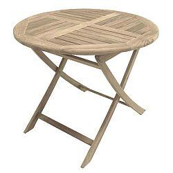 Zahradní skládací stůl z teakového dřeva ADDU Solo, ⌀90cm