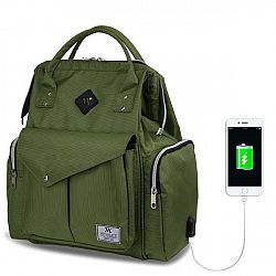 Zelený batoh pro maminky s USB portem My Valice HAPPY MOM Baby Care Backpack